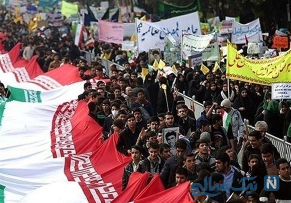 روح الله زم و مسیح علی نژاد در راهپیمایی ۱۳ آبان