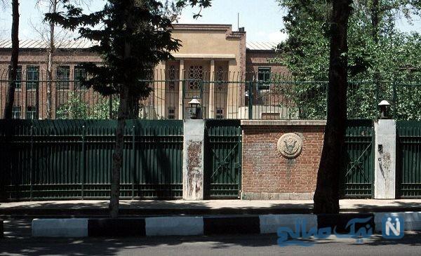 تصاویری عجیب از طراحی روی دیوار سفارت آمریکا در ایران