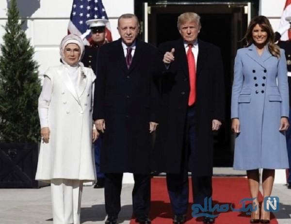 لباس گران قیمت ملانیا ترامپ در دیدار با همسر اردوغان