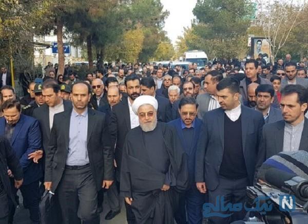 مراسم تشییع پیکر خواهر رئیس جمهور با حضور روحانی و حسین فریدون