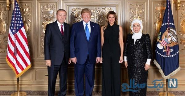 پوشش همسر اردوغان در کنار همسر ترامپ در کاخ سفید