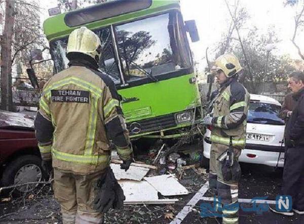 تصادف شدید اتوبوس شهری با چهار خودرو سواری در در بزرگراه شیخ فضل الله