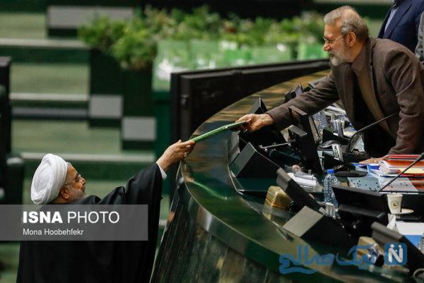 روحانی و لاریجانی آخرین عکس مشترک را در مجلس ثبت کردند