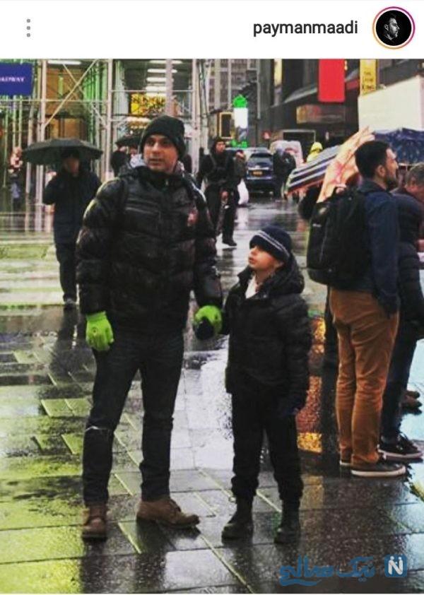 پیمان معادی و پسرش در خارج از کشور مشغول تفریح