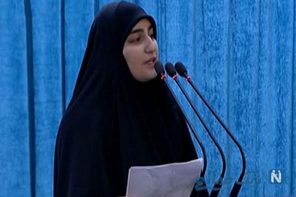 سخنرانی زینب سلیمانی دختر شهید حاج قاسم در نماز جمعه امروز کرمان