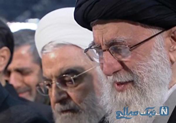 لحظه بغض و گریه رهبر حین نماز بر پیکر سردار سلیمانی