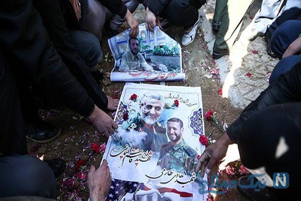 مادر شهید طارمی در قبر او خوابید