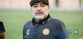 اقدام مشکوک دیگو مارادونا مربی معروف در مقابل دوربین ها