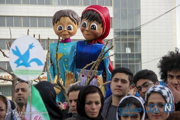 مراسم شادپیمایی عروسک های غول پیکر در خیابان های کرج