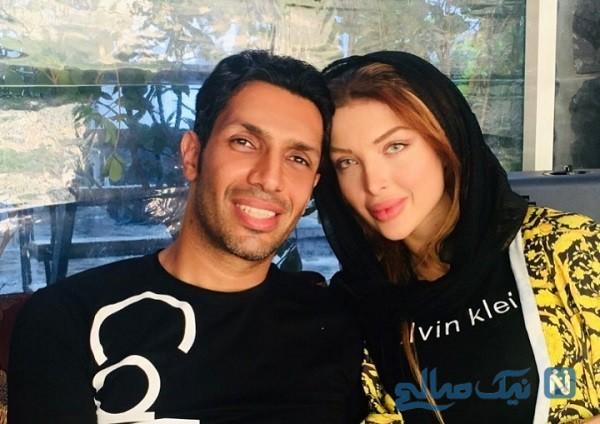سپهر حیدری در کنار همسرش آرام جوینده