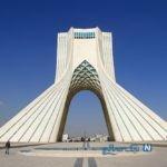 همدردی ایران با ملت چین در مقابله با کرونا روی برج آزادی تهران