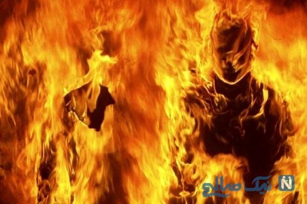 صحنه عجیب و وحشتناک از آتش گرفتن پسر جوان در تولدش!