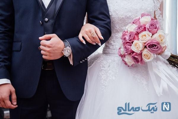 مراسم کیک خوری یک عروس و داماد در حضور مهمانان جنجالی شد