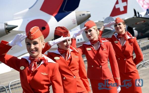 پوشش عجیب و متفاوت مهماندارهای هواپیما در شرایط کرونایی
