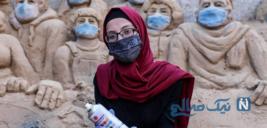 این دختر زیبای فلسطینی با مجسمه های شنی حرف میزند!