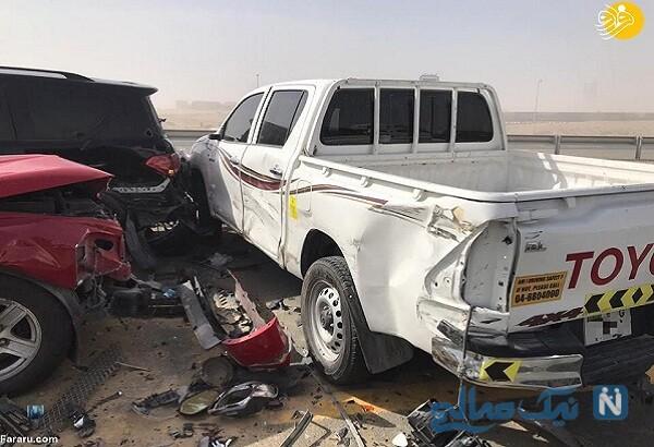 تصادف زنجیره ای خودروهای لوکس و لاکچری در دبی , ببینید
