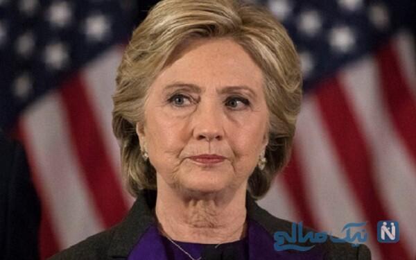 چهره ساده و بدون آرایش هیلاری کلینتون با ماسک