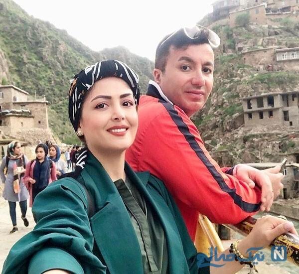 مجری زن در کنار همسرش