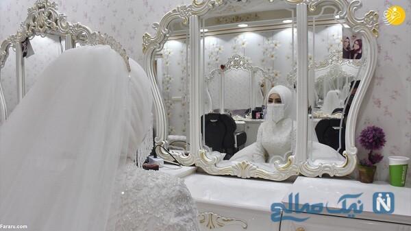 عروس با ماسک مخصوص