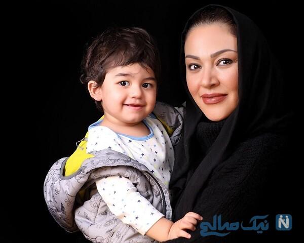 بازیگر زن با پسرش