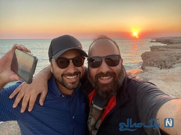 همخوانی علی اوجی و احسان خواجه امیری در ساحل دریا