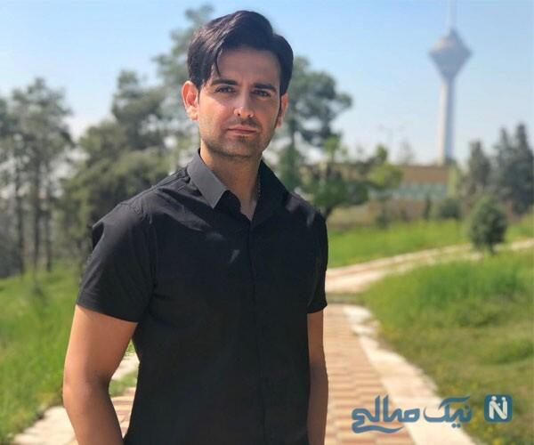 امیرحسین آرمان در باشگاه بدنسازی با لباس ورزشی