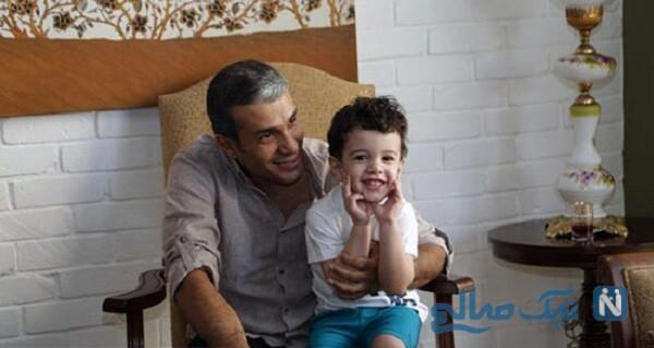 تصویری از آریا عظیمی نژاد و فرزندش