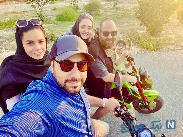 موتورسواری علی اوجی و همسرش