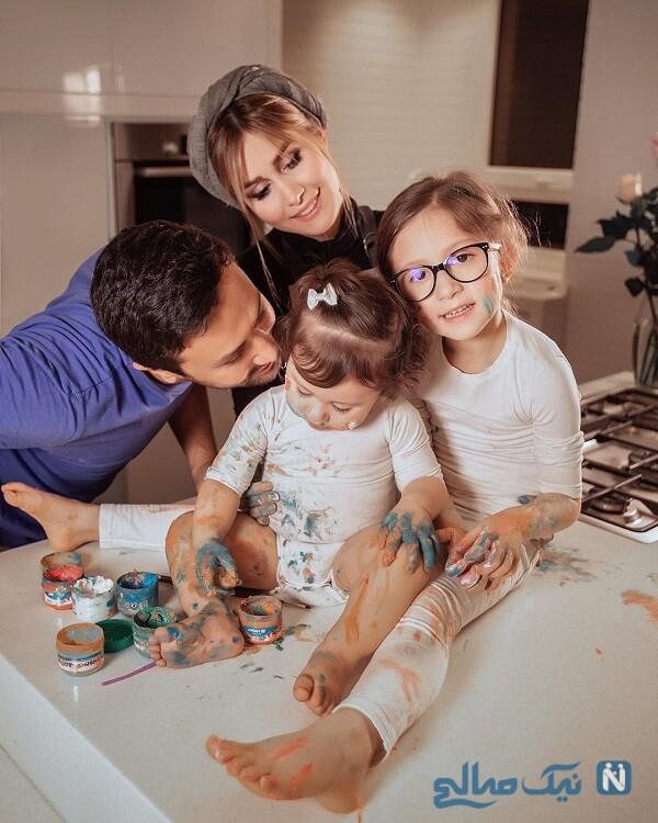 لحظات عاشقانه آقای بازیگر و دخترانش
