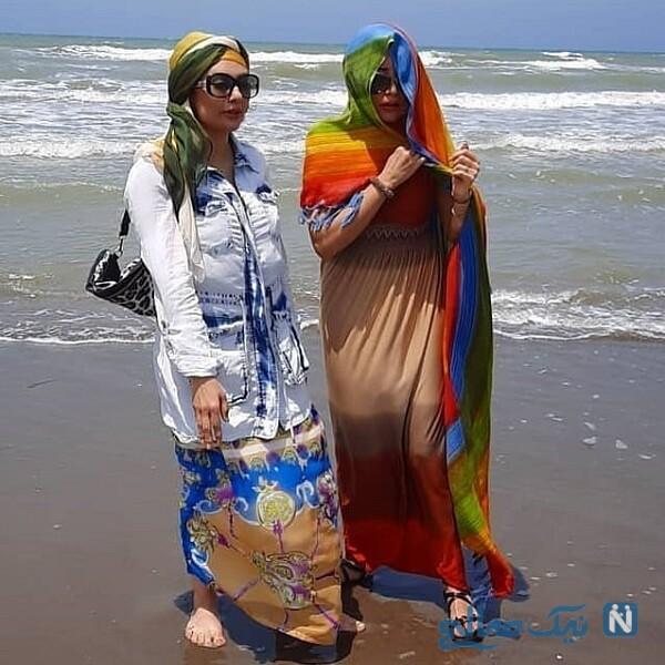 یکتا ناصر و خواهرش در ساحل شمال