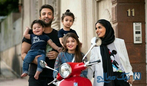 بنیامین بهادری درکنار همسر و فرزندانش