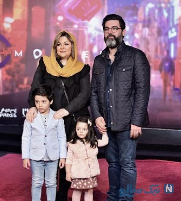 مصطفی کیایی و دخترش درکنار همسرش