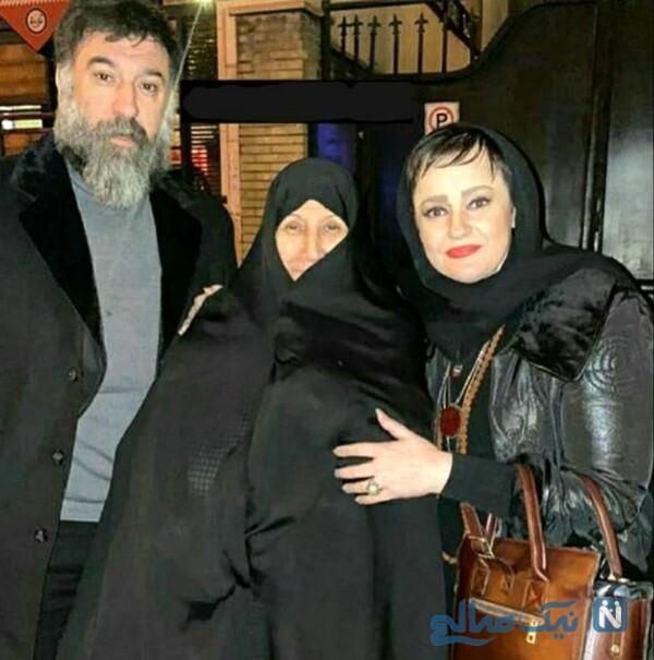 خانم بازیگر درکنار علی انصاریان و مادرش