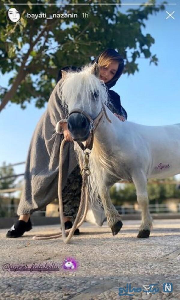 نازنین بیاتی و اسب کوچک اش