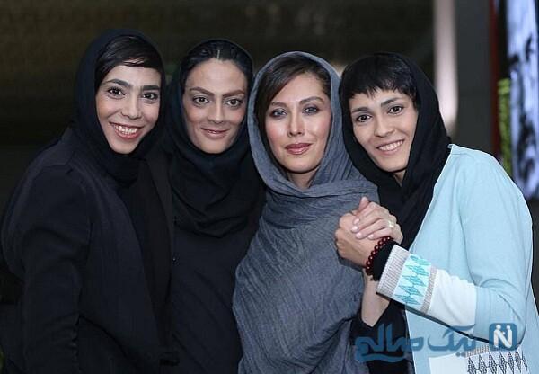 خواهران منصوریان درکنار خانم بازیگر