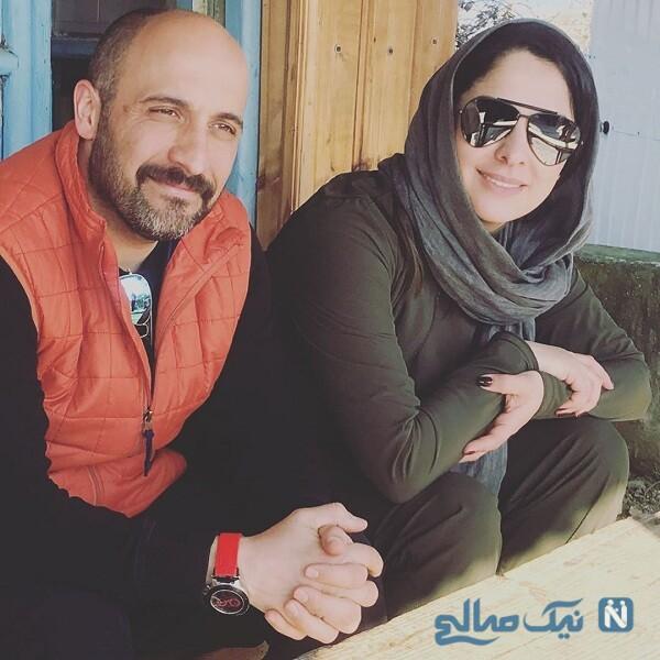 تصاویر عاشقانه خانم بازیگر و همسرش