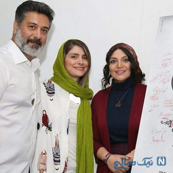 حمیدرضا پگاه و همسرش درکنار خانم بازیگر