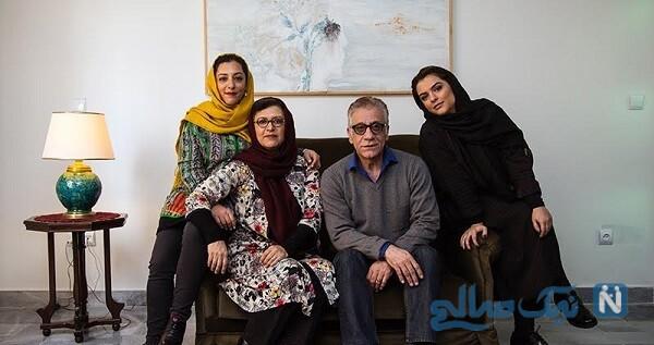 بازیگر زن در کنار همسر و دخترانش