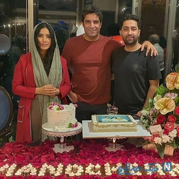 بازیگر معروف و همسرش در جشن تولد منوچهر هادی