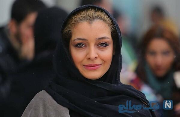 یکتا ناصر و همسرش همراه ساره بیات در پشت صحنه سریال عاشقانه