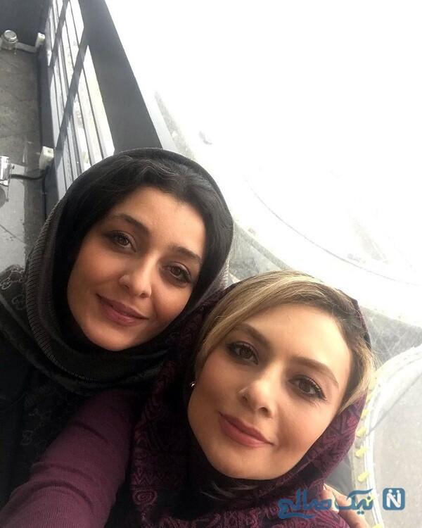 یکتا ناصر و ساره بیات در پشت صحنه عاشقانه
