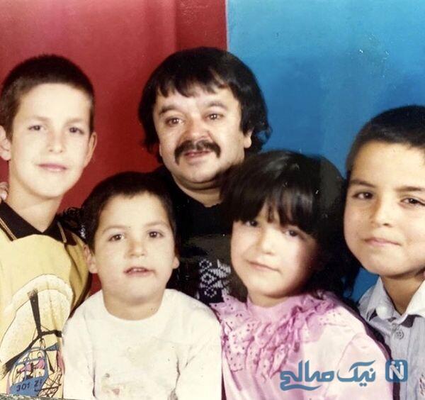 عکس قدیمی اسدالله یکتا درکنار فرزندانش
