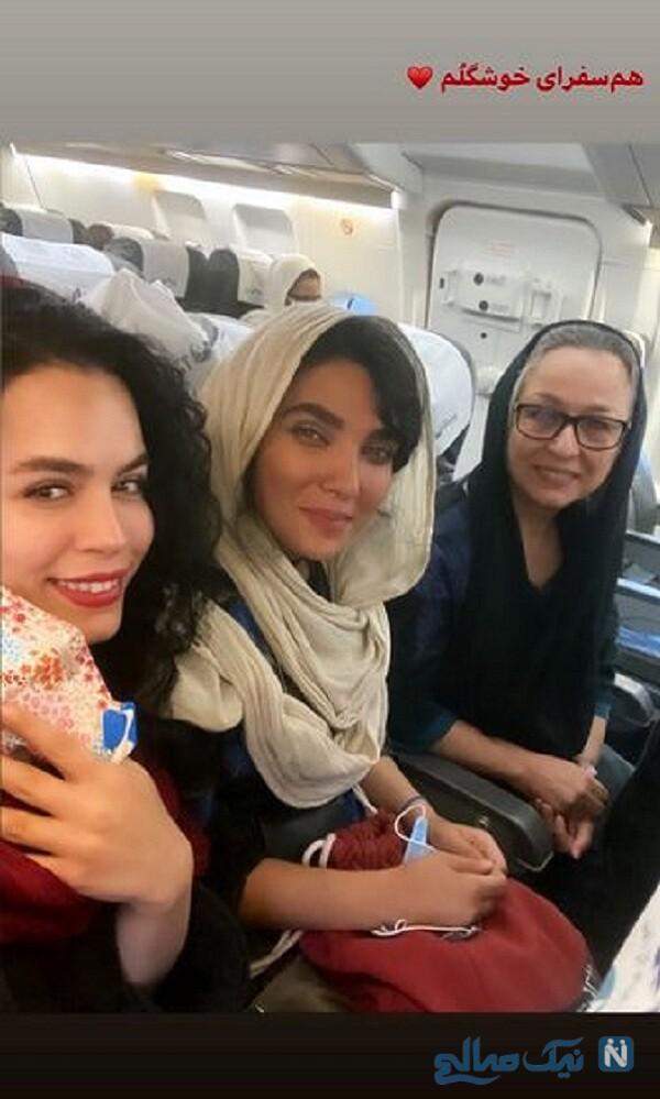 سفر ملیکا شریفی نیا به همراه مادرش و خانم بازیگر