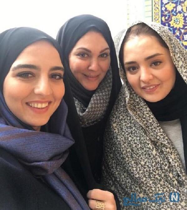 لاله اسکندری چادر به سر درکنار خانم های بازیگر