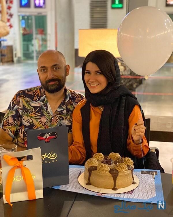 جشن تولد نیلوفر استخری درکنار همسرش