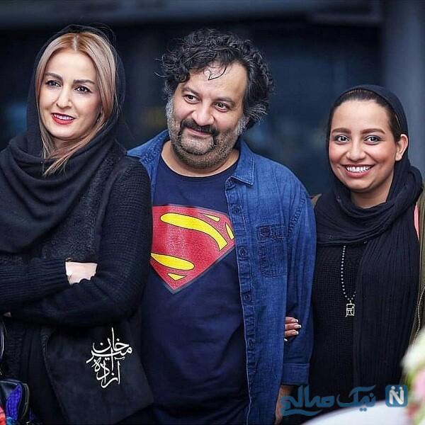 مهراب قاسم خانی درکنار همسر و دخترش