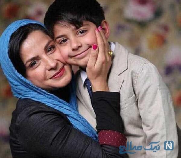 سیما تیرانداز بازیگر ایرانی و پسرش