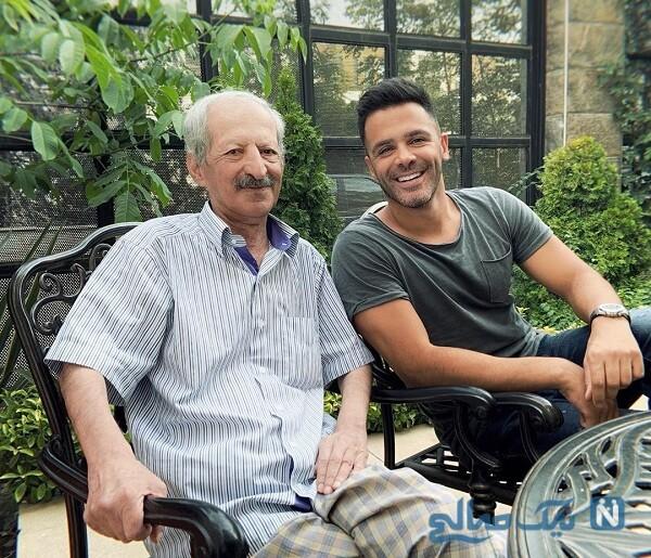 حیاط خانه سیروان خسروی و خواننده معروف درکنار پدرش