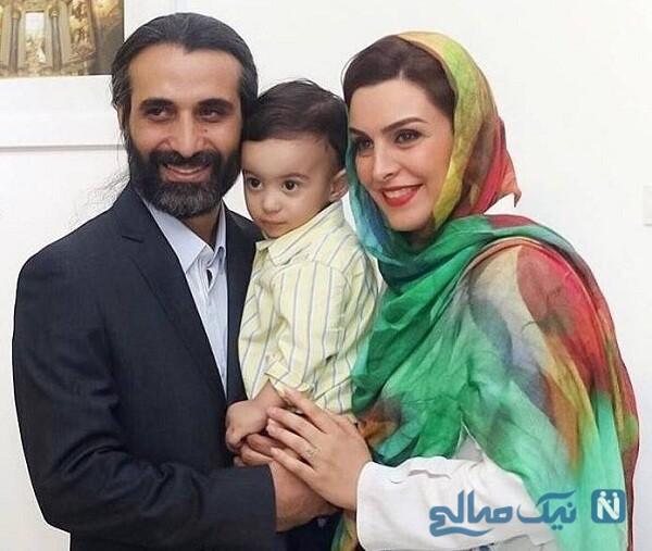 خانم بازیگر درکنار همسر و پسرش