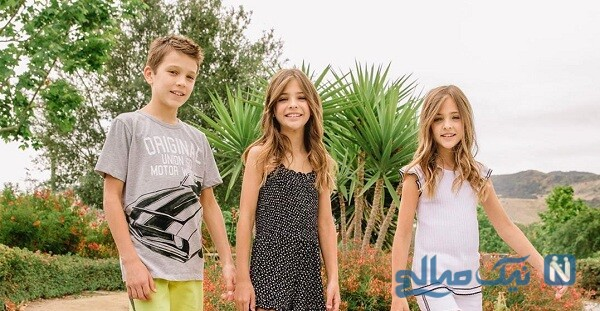زیباترین خواهران دوقلو درکنار برادرشان